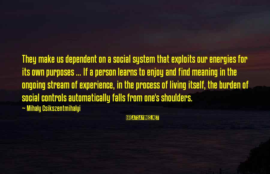 Stream Flow Sayings By Mihaly Csikszentmihalyi: They make us dependent on a social system that exploits our energies for its own