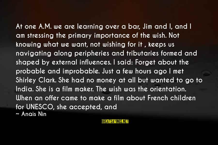 Stressing Out Sayings By Anais Nin: At one A.M. we are learning over a bar, Jim and I, and I am