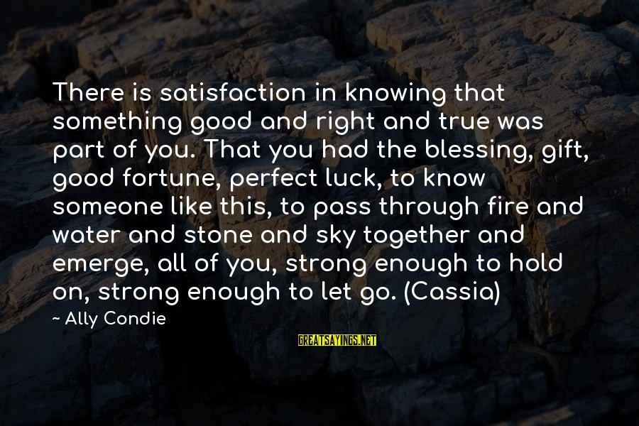 Strong Enough To Hold On Sayings By Ally Condie: There is satisfaction in knowing that something good and right and true was part of