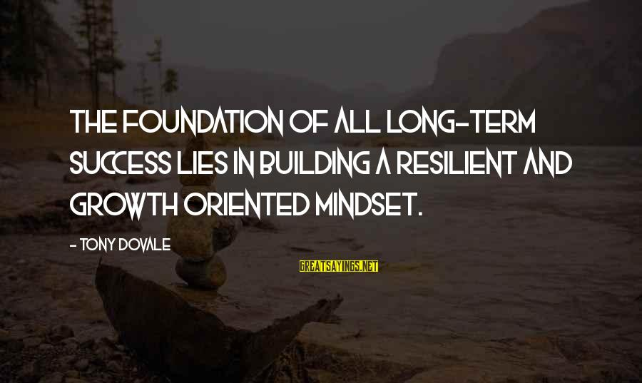 Success And Change Sayings By Tony Dovale: The foundation of all long-term success lies in building a Resilient and Growth oriented MINDSET.