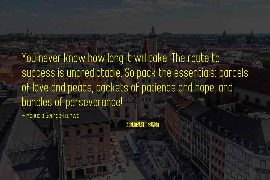 Success And Patience Sayings By Manuela George-Izunwa: You never know how long it will take. The route to success is unpredictable. So