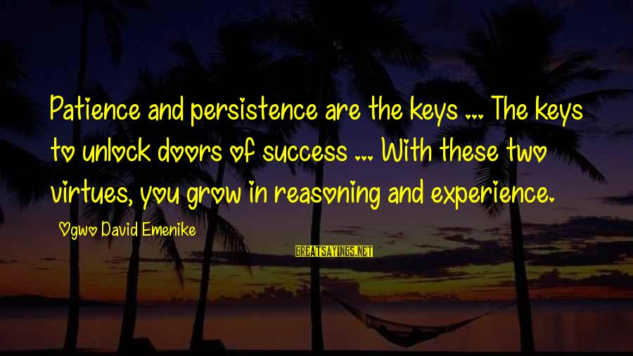Success And Patience Sayings By Ogwo David Emenike: Patience and persistence are the keys ... The keys to unlock doors of success ...