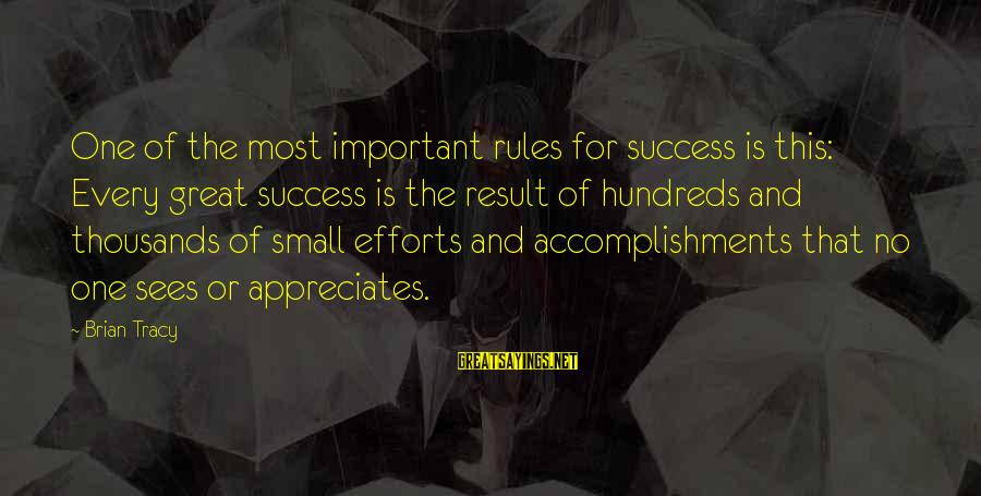 Success Sayings By Brian Tracy: One of the most important rules for success is this: Every great success is the