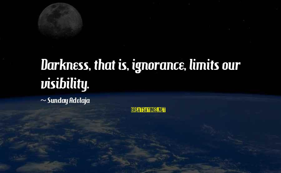 Successful Online Learning Sayings By Sunday Adelaja: Darkness, that is, ignorance, limits our visibility.