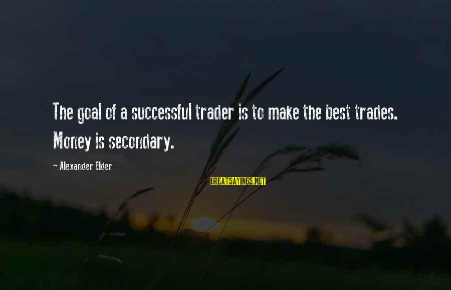 Successful Traders Sayings By Alexander Elder: The goal of a successful trader is to make the best trades. Money is secondary.