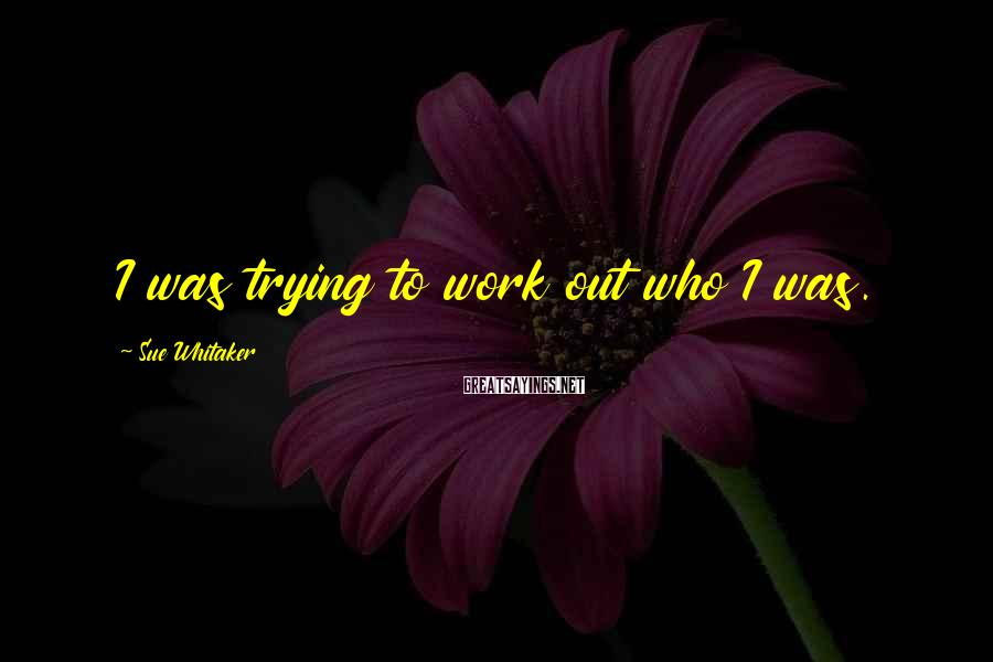 Sue Whitaker Sayings: I was trying to work out who I was.