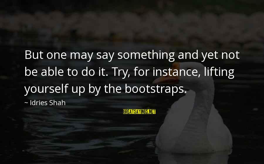 Sufi Sayings By Idries Shah: But one may say something and yet not be able to do it. Try, for
