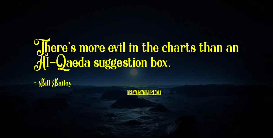 Suggestion Sayings By Bill Bailey: There's more evil in the charts than an Al-Qaeda suggestion box.