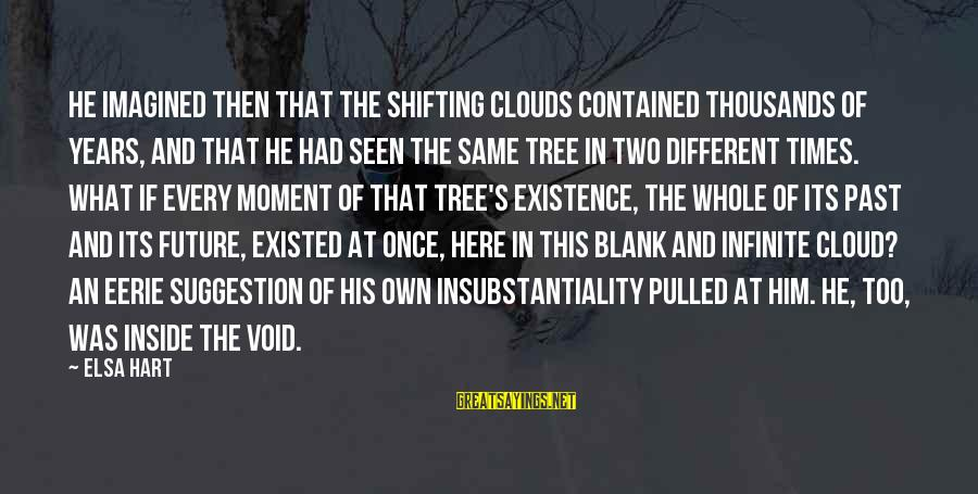 Suggestion Sayings By Elsa Hart: He imagined then that the shifting clouds contained thousands of years, and that he had