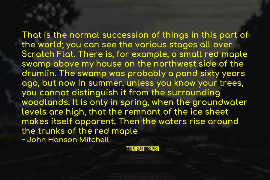 Summer Quotes And Sayings By John Hanson Mitchell: That is the normal succession of things in this part of the world; you can