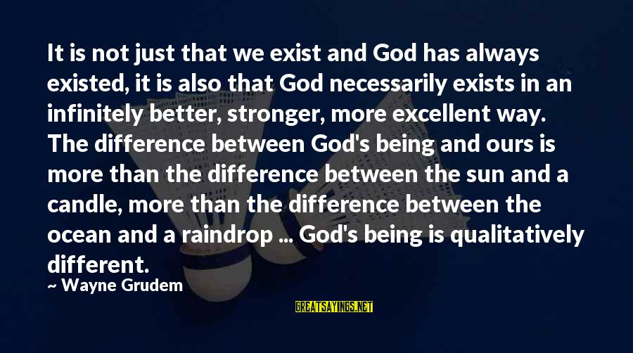 Sun God Sayings By Wayne Grudem: It is not just that we exist and God has always existed, it is also