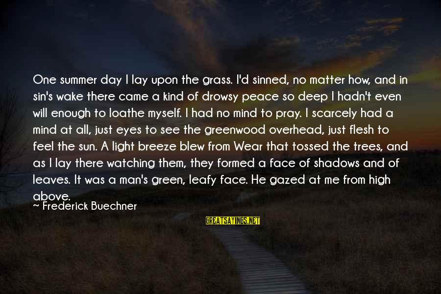 Sun In My Eyes Sayings By Frederick Buechner: One summer day I lay upon the grass. I'd sinned, no matter how, and in