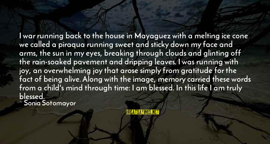 Sun In My Eyes Sayings By Sonia Sotomayor: I war running back to the house in Mayaguez with a melting ice cone we