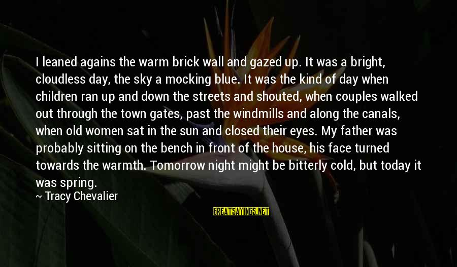 Sun In My Eyes Sayings By Tracy Chevalier: I leaned agains the warm brick wall and gazed up. It was a bright, cloudless