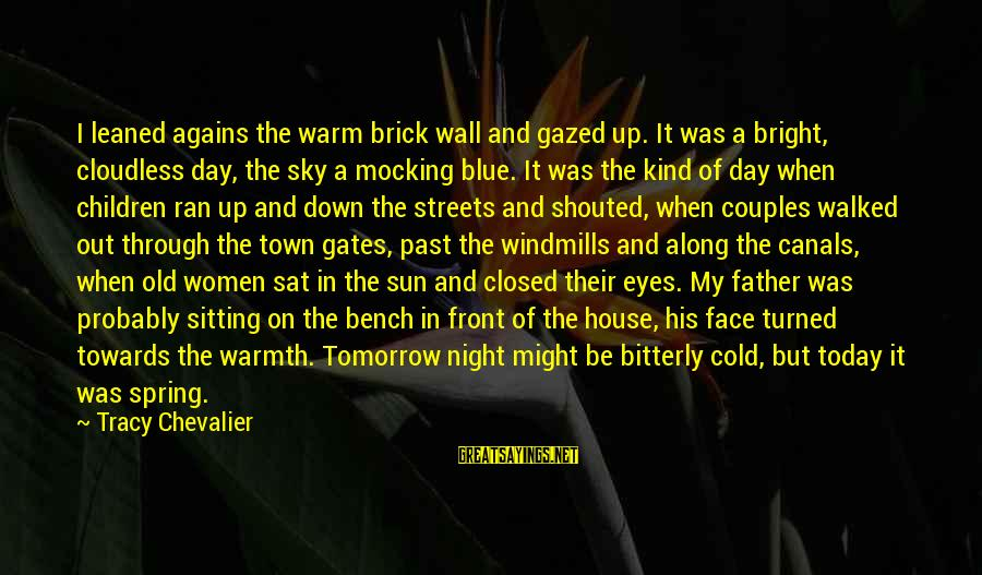 Sun On My Face Sayings By Tracy Chevalier: I leaned agains the warm brick wall and gazed up. It was a bright, cloudless