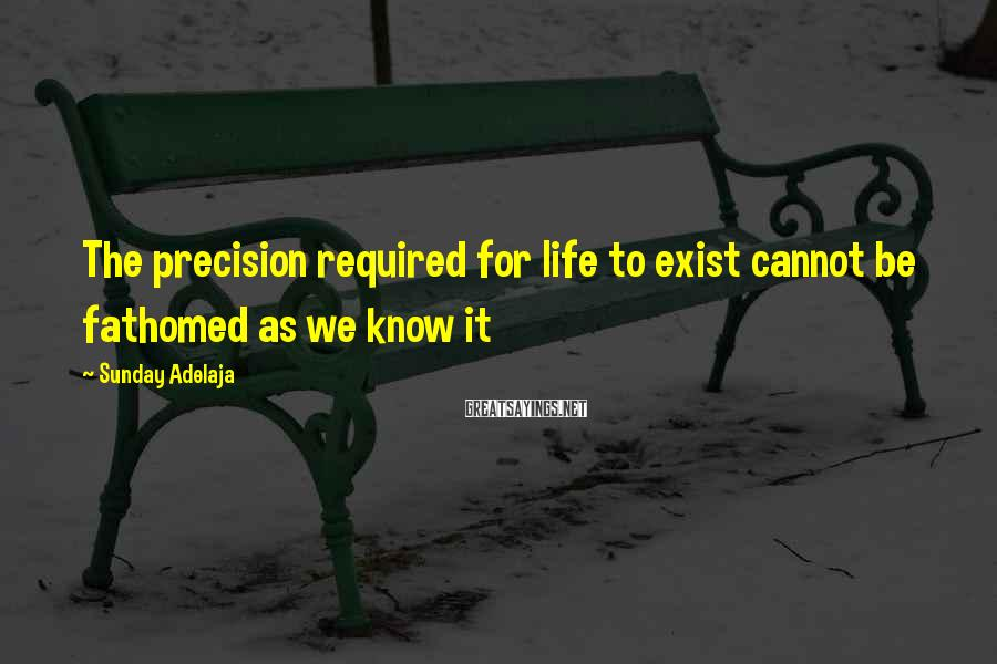 Sunday Adelaja Sayings: The precision required for life to exist cannot be fathomed as we know it