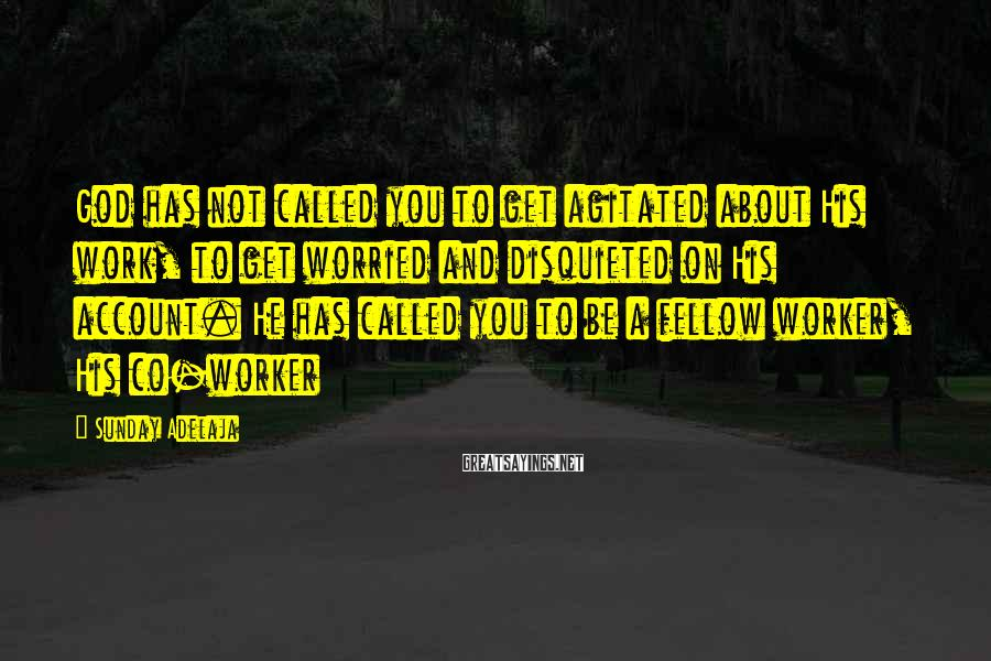 Sunday Adelaja Sayings: God has not called you to get agitated about His work, to get worried and