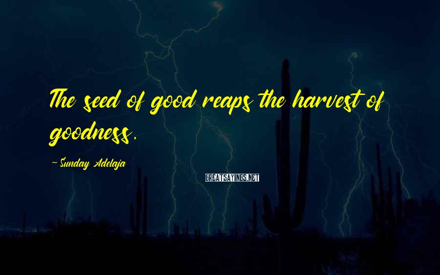 Sunday Adelaja Sayings: The seed of good reaps the harvest of goodness.