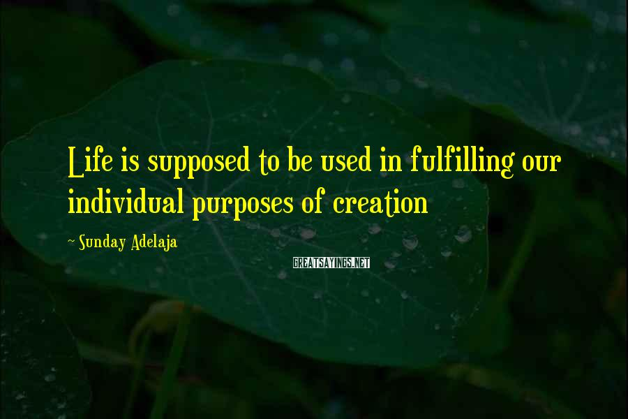 Sunday Adelaja Sayings: Life is supposed to be used in fulfilling our individual purposes of creation