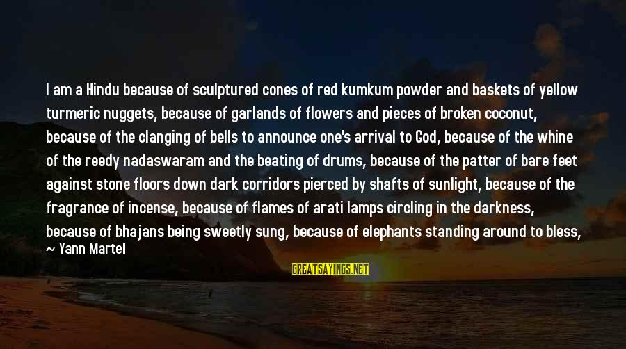 Sunlight And Darkness Sayings By Yann Martel: I am a Hindu because of sculptured cones of red kumkum powder and baskets of