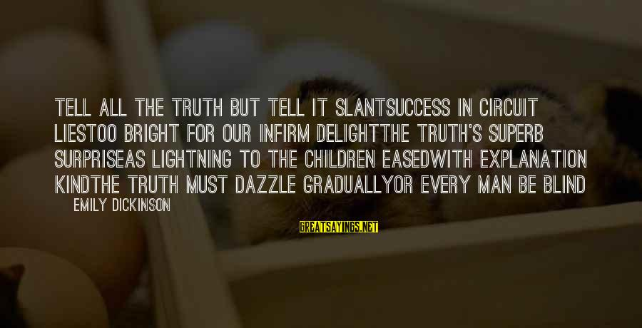 Superb Inspirational Sayings By Emily Dickinson: Tell all the Truth but tell it slantSuccess in Circuit liesToo bright for our infirm
