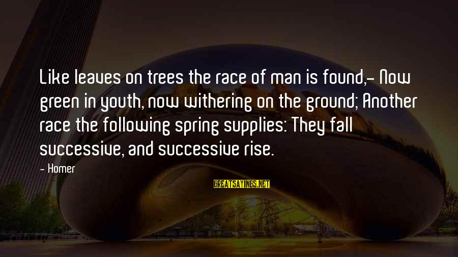 Supplies Sayings By Homer: Like leaves on trees the race of man is found,- Now green in youth, now