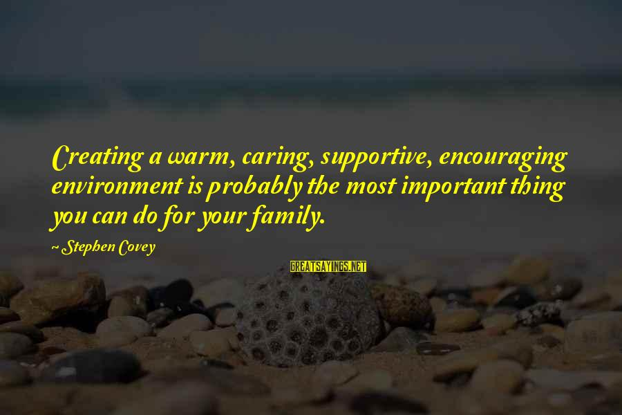 Supportive Family Sayings By Stephen Covey: Creating a warm, caring, supportive, encouraging environment is probably the most important thing you can