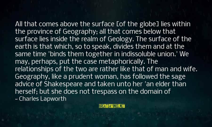 Surface Science Sayings By Charles Lapworth: All that comes above the surface [of the globe] lies within the province of Geography;