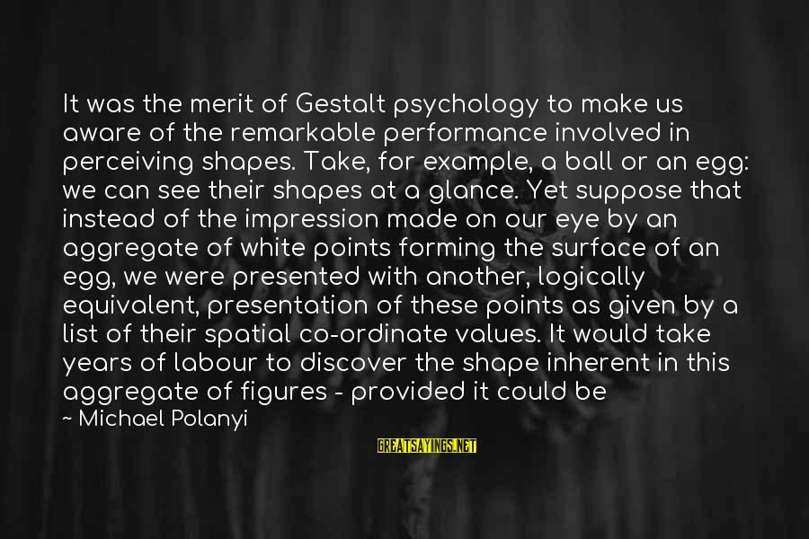Surface Science Sayings By Michael Polanyi: It was the merit of Gestalt psychology to make us aware of the remarkable performance