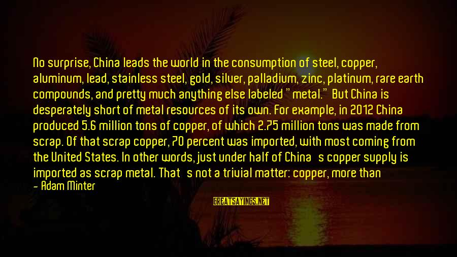 Surprise In Life Sayings By Adam Minter: No surprise, China leads the world in the consumption of steel, copper, aluminum, lead, stainless