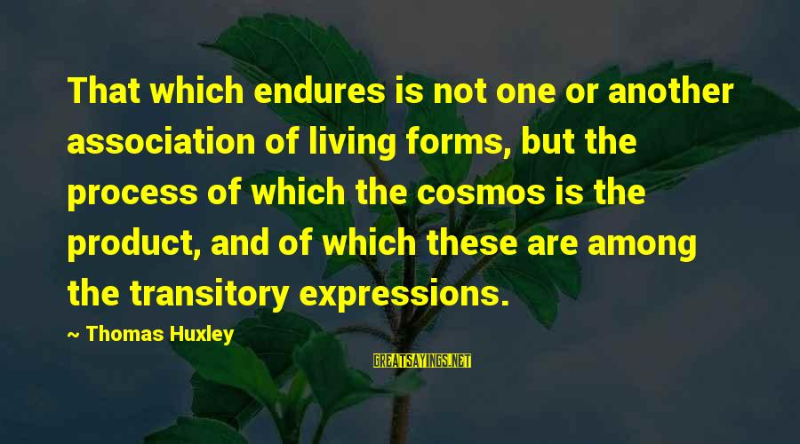 Survival Sayings By Thomas Huxley: That which endures is not one or another association of living forms, but the process