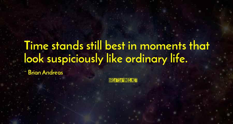 Suspiciously Sayings By Brian Andreas: Time stands still best in moments that look suspiciously like ordinary life.