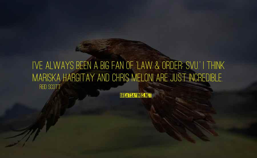 Svu Sayings By Reid Scott: I've always been a big fan of 'Law & Order: SVU.' I think Mariska Hargitay