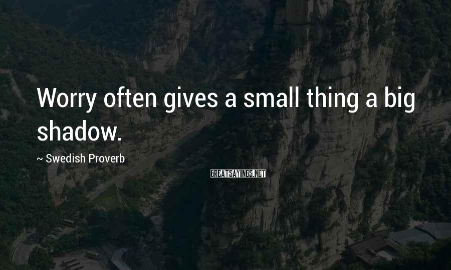 Swedish Proverb Sayings: Worry often gives a small thing a big shadow.