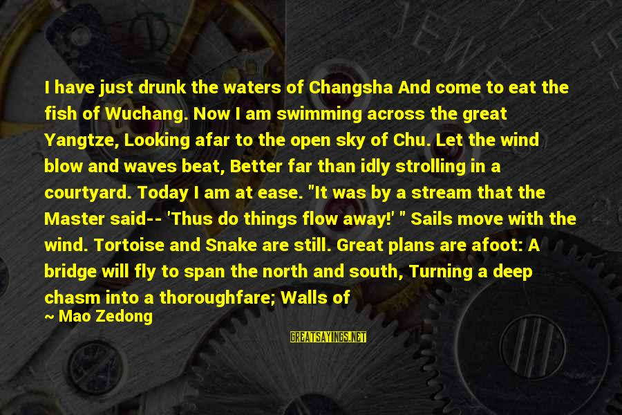 Swimming Upstream Sayings By Mao Zedong: I have just drunk the waters of Changsha And come to eat the fish of