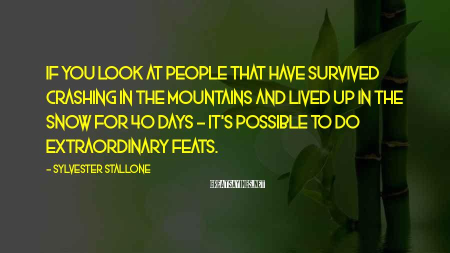 Sylvester Stallone Sayings: If you look at people that have survived crashing in the mountains and lived up