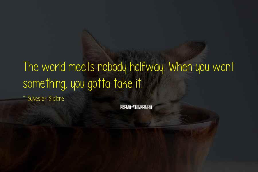 Sylvester Stallone Sayings: The world meets nobody halfway. When you want something, you gotta take it.