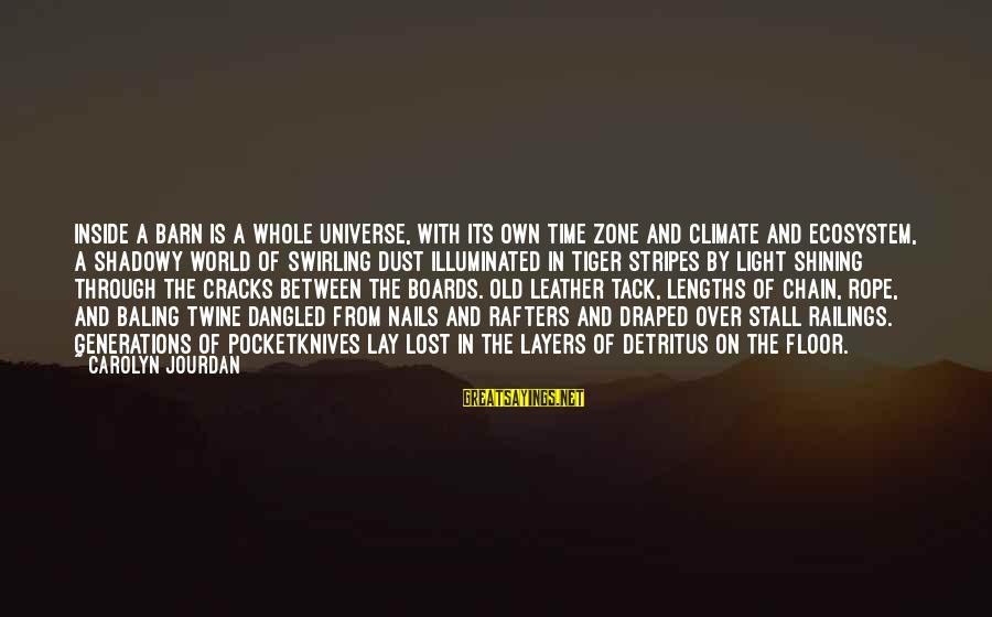 Tack Sayings By Carolyn Jourdan: Inside a barn is a whole universe, with its own time zone and climate and