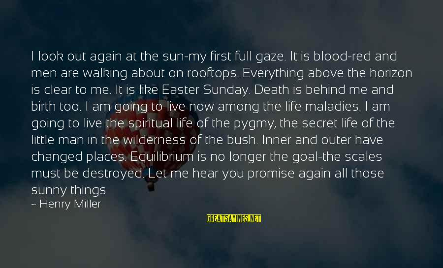 Tack Sayings By Henry Miller: I look out again at the sun-my first full gaze. It is blood-red and men