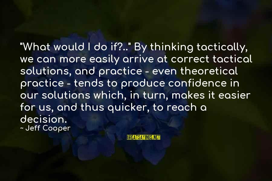 """Tactically Sayings By Jeff Cooper: """"What would I do if?.."""" By thinking tactically, we can more easily arrive at correct"""