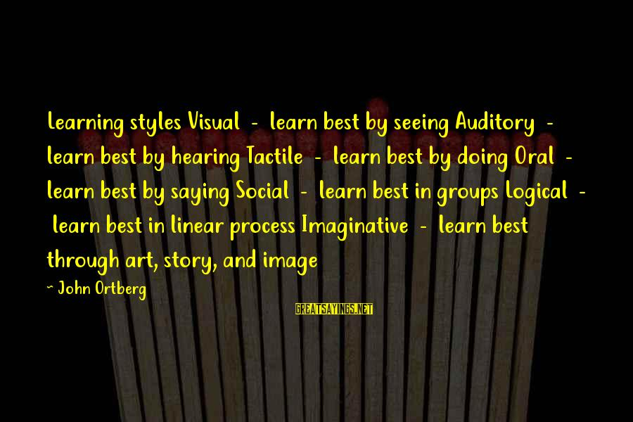 Tactile Sayings By John Ortberg: Learning styles Visual - learn best by seeing Auditory - learn best by hearing Tactile