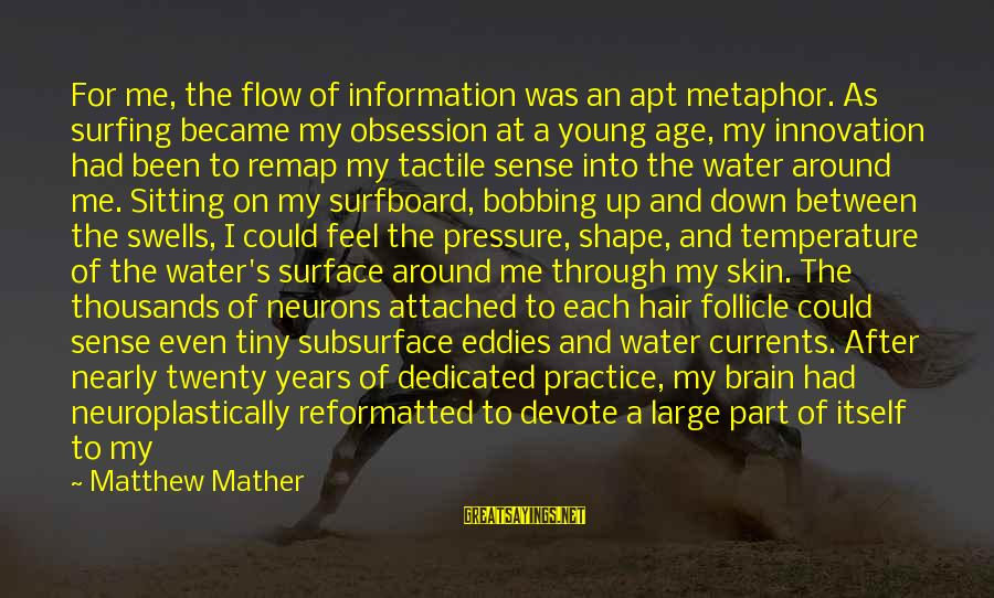 Tactile Sayings By Matthew Mather: For me, the flow of information was an apt metaphor. As surfing became my obsession
