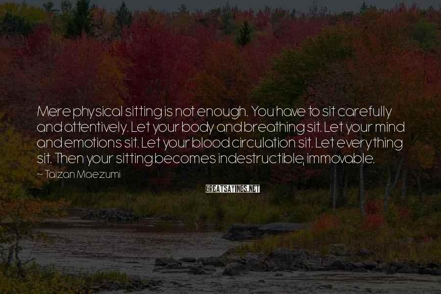 Taizan Maezumi Sayings: Mere physical sitting is not enough. You have to sit carefully and attentively. Let your