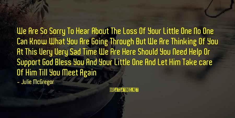 Take Care Till We Meet Again Sayings By Julie McGregor: We Are So Sorry To Hear About The Loss Of Your Little One No One