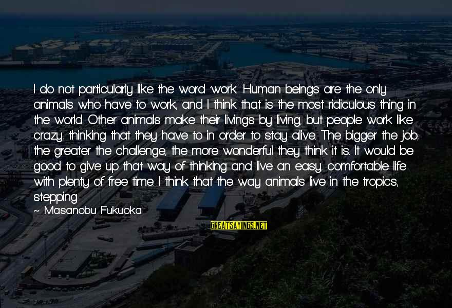 Taking One Thing At A Time Sayings By Masanobu Fukuoka: I do not particularly like the word 'work.' Human beings are the only animals who