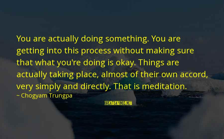 Taking Things For What They Are Sayings By Chogyam Trungpa: You are actually doing something. You are getting into this process without making sure that