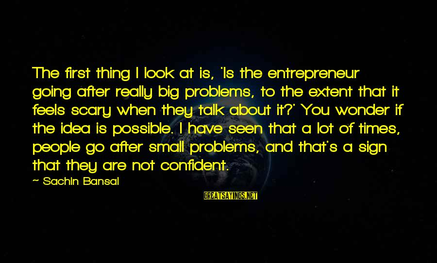 Talk About Your Problems Sayings By Sachin Bansal: The first thing I look at is, 'Is the entrepreneur going after really big problems,