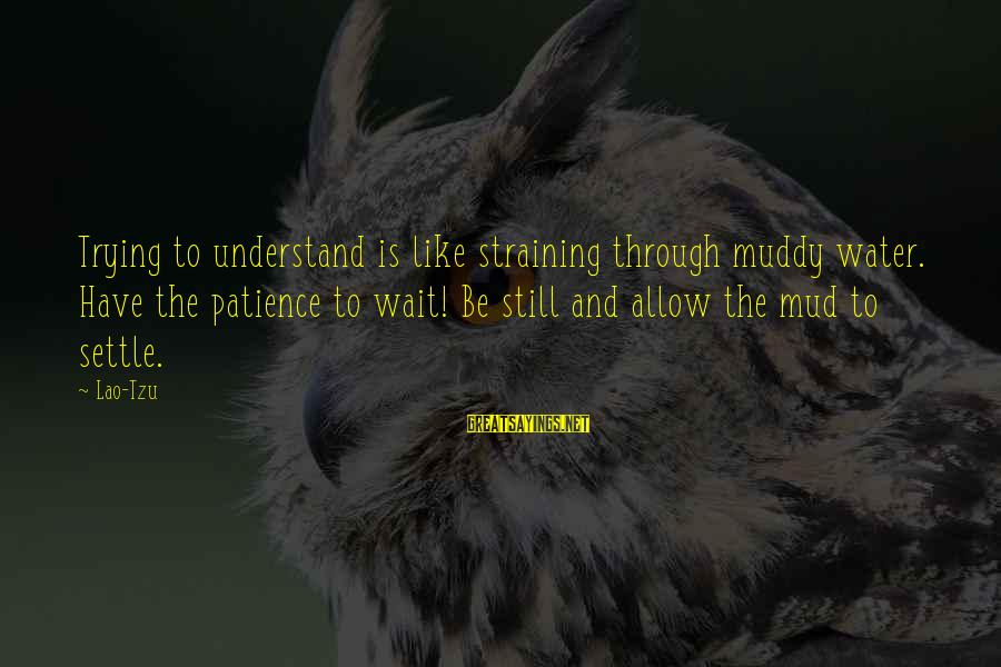 Taoism Lao Tzu Sayings By Lao-Tzu: Trying to understand is like straining through muddy water. Have the patience to wait! Be