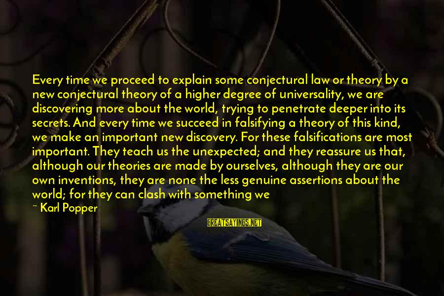 Tapdanced Sayings By Karl Popper: Every time we proceed to explain some conjectural law or theory by a new conjectural