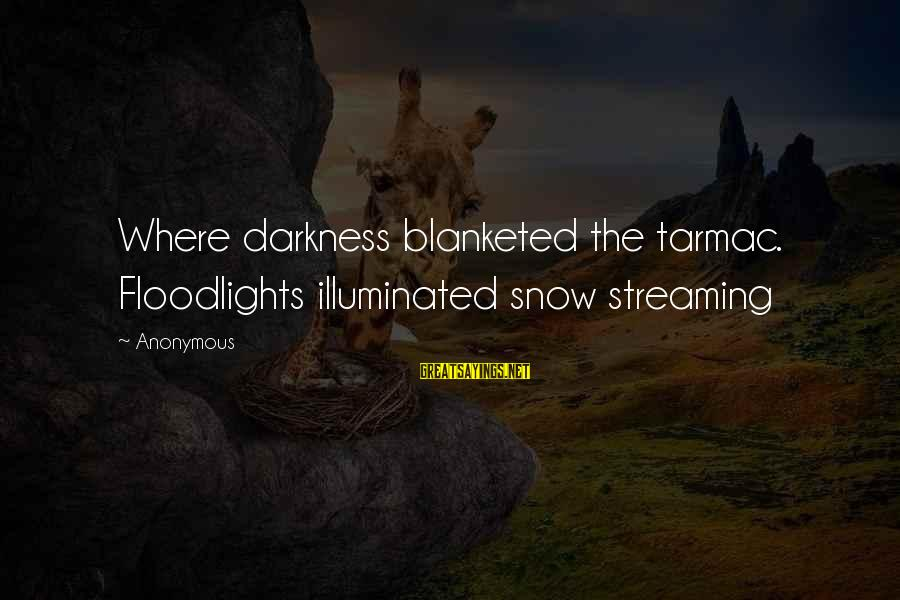 Tarmac Sayings By Anonymous: Where darkness blanketed the tarmac. Floodlights illuminated snow streaming